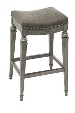 Hillsdale 5606-826 Vetrina Backless Non-Swivel Counter Stool with Fabric, Weathered Grey