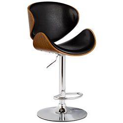 GentleShower Bent Wood Barstool, Adjustable Height Swivel PU Leather Adjustable Barstools Chrome ...