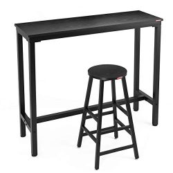 "Mr IRONSTONE Bar Table Set 2-Piece,47 ""Pub Dining Height Table Bistro Table Wood Grain (Black)"