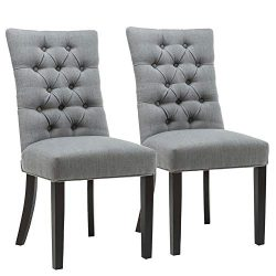 Chairus Parsons Dining Room Chair with Nailed Trim & Curved Solid Wood Legs (Set of 2), Gray