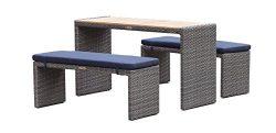 PALMA – Bar/Bistro Table Set – Grey HDPE Wicker
