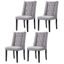 Set of 4 Elegant Dining Side Chairs Button Tufted Fabric w Nailhead
