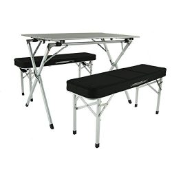 Aluminum Portable Folding Roll Table & Bench Set (Black) – Camping Table   Outdoor Tab ...