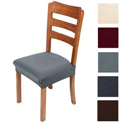 Smiry Stretch Jacquard Chair Seat Covers for Dining Room, Removable Washable Anti-Dust Chair Sea ...