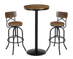 VILAVITA 3 Piece Bar Table Set 41.5″ Pub Table with 2 Bar Stools Retro Finish Bistro Pub K ...