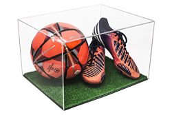 Versatile Deluxe Clear Acrylic Display Case – Large Rectangle Box with Turf Bottom 15.25&# ...