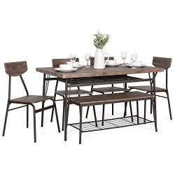 Best Choice Products 6-Piece 55in Modern Wood Dining Set for Home, Kitchen, Dining Room w/Storag ...