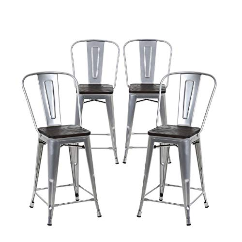 buschman set of 4 grey wooden seat 24 inch counter height metal bar stools with high back. Black Bedroom Furniture Sets. Home Design Ideas