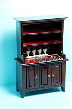 Dollhouse & Miniature Kitchen Dining Room Hutch & Accessories in Mahogany CLA91646