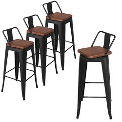 Andeworld Set of 4 Swivel Counter Height Bar Stools Industrial Metal Bar Stools Indoor-Outdoor,  ...