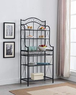 Kings Brand Furniture – Black Metal/Faux Stone 5-Tier Kitchen Storage Bakers Rack