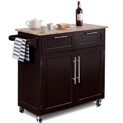 Giantex Kitchen Island Cart Rolling Storage Trolley Cart Home and Restaurant Serving Utility Car ...