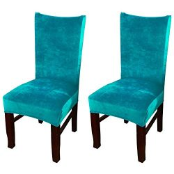 Smiry Velvet Stretch Dining Room Chair Covers Soft Removable Dining Chair Slipcovers Set of 2, P ...