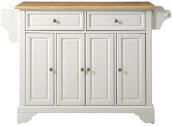 Crosley Furniture LaFayette Kitchen Island with Natural Wood Top – White