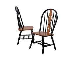 Sunset Trading Keyhole Dining Chair with Cherry Seat, Set of 2, 41″, Antique Black