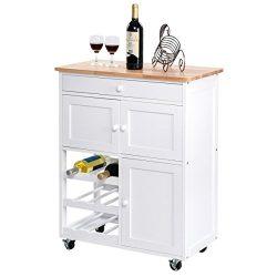 New Modern Rolling Kitchen Cart Trolley Island Storage Cabinet W/ Drawer Wine Rack Allblessings