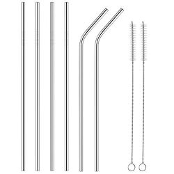 Hoomble 6X Stainless Steel Straws, Reusable 10.5inch Ultra-Long Durable Metal Drinking 2X Cleani ...