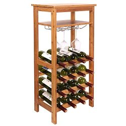 Smartxchoices 16 Bottle Wine Rack with Glass Holder, Table Top Wine Rack Shelf Free Standing Flo ...