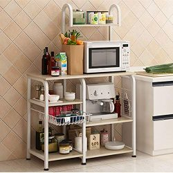 Mr IRONSTONE Kitchen Baker's Rack Utility Storage Shelf 35.5″ Microwave Stand 4-Tier ...