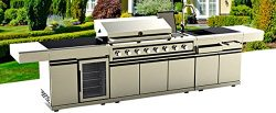 Western Pacific BBQ Gas Grill 12 Ft Island Outdoor 72,000 BTU 8 Burners Rotisserie Modular Sink  ...