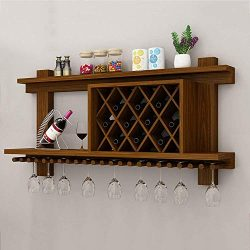 MKKM Wine Racks Wine Shelf Wall-Mounted Wood MDF Cabinet Creative Grid Hanging Wine Bottle Holde ...