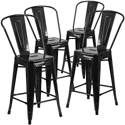 "Belleze 24"" inch Indoor-Outdoor Counter Height Stool with Back, Set of (4) Black"
