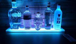 SWONVI Home Bar Lighting Wine Racks – 2 Ft LED Lighted Liquor Bottle Display Shelf Include ...