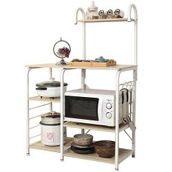 Dland Microwave Cart Stand 35.4″, Kitchen Utility Storage 3-Tier+4-Tier for Baker's Rack & ...