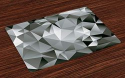 Lunarable Abstract Place Mats Set of 4, Fractal Monochrome Composition Triangles Polygonal Effec ...