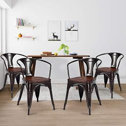 Dining Chairs, WaterJoy Set of 4 Wood Metal Tolix Vintage Retro Bistro Stackable Dining Cafe Sid ...