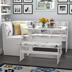 Simple Interior 3 Piece Dining Set – 1 Corner Unit, Table and Bench with Upholstered Seats ...