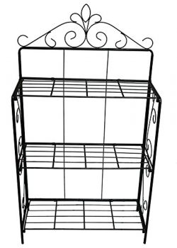 FOYUEE Versatile 3 Tier Standing Wire Shelf Shelving, Unit Bakers Rack, Metal Organizer Planter  ...