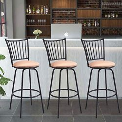 WATERJOY Barstool, Set of 3 Modern Swivel Bar Stool Counter Height Chair Bistro Pub Breakfast Ki ...