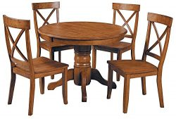 "Home Styles 5179-318 Cottage 5 Piece 42″ Round Dining Set with 4 Chairs, W-42"", D-42"" H-30 Oak"