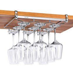 VOBAGA Stemware Racks 3 Rows Adjustable Stainless Steel Wine Glass Rack Stemware Hanger Bar Home ...