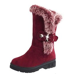 Womens Snow Boots Winter Warm Faux Fur Buckle Strap Slip-On Round Toe Wedges Platform Shoes Mid  ...