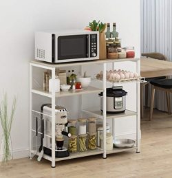 Mr IRONSTONE Kitchen Baker's Rack Utility Storage Shelf Microwave Stand 3-Tier+3-Tier Table for  ...
