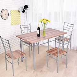 Tangkula 5 Piece Dining Set, Modern Simple Design Wood Top and Metal Frame Dining Table and Chai ...