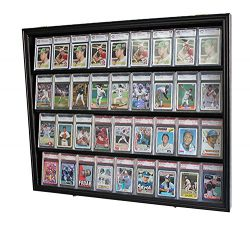 Lockable 36 Graded Sports Card Display Case, for Football, Baseball, basketball, Hockey cards, B ...