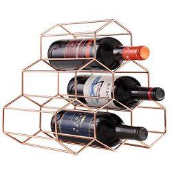 Buruis 6 Bottles Metal Wine Rack, Countertop Free-stand Wine Storage Holder, Space Saver Protect ...