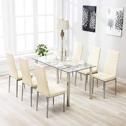 Mecor 7 Piece Kitchen Dining Set, Glass Top Table with 6 Leather Chairs Breakfast Furniture,Beige