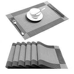 U'Artlines Placemat, Crossweave Woven Vinyl Non-Slip Insulation Placemat Washable Table Ma ...