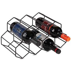Buruis Metal Wine Rack,Countertop Wine Holder Stand Stack 7 Bottles, Space Saver, Free Standing  ...