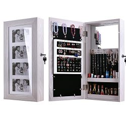 Goujxcy Makeup Cosmetics Cabinet,Photo Frames Jewelry Wall Mounted,4 Picture Display Cabinet,Mak ...