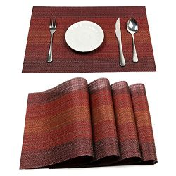 Pauwer Placemats Set of 6 Heat Insulation Stain Resistant Placemat for Dining Table Durable Cros ...