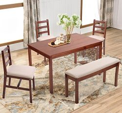 Harper&Bright Designs 5 Piece Dining Table Set, Solid Wood Kitchen Table Set with Bench and  ...