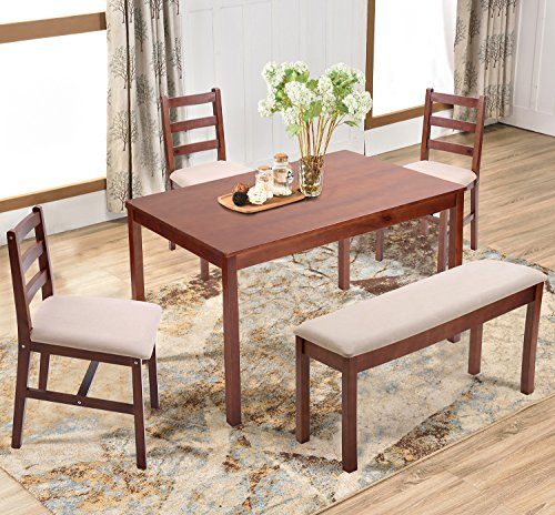 Wood Kitchen Tables And Chairs Sets Ideas With Enchanting: Harper&Bright Designs 5 Piece Dining Table Set, Solid Wood