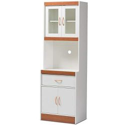 Baxton Studio Laurana White and Cherry Kitchen Cabinet and Hutch