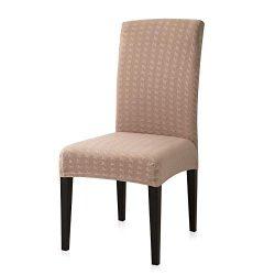 Subrtex Print Jacquard Stretch Dining Room Chair Slipcovers (4 PCS, Sand)