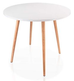 Leopard Coffee Table – White Round Top Kitchen Dining Table with 4 Wood Legs Leisure Woode ...